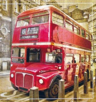Town Bus Mural Wallpaper
