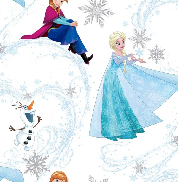FROZEN ANNA, ELSA AND OLAF BLUE SHIMMER Wallpaper